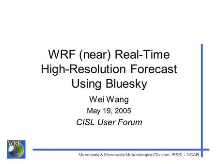 Mesoscale & Microscale Meteorological Division / ESSL / NCAR WRF (near) Real-Time High-Resolution Forecast Using Bluesky Wei Wang May 19, 2005 CISL User.