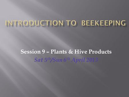 Session 9 – Plants & Hive Products Sat 5 th /Sun 6 th April 2013.