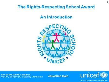 Education team 1 The Rights-Respecting School Award An Introduction.
