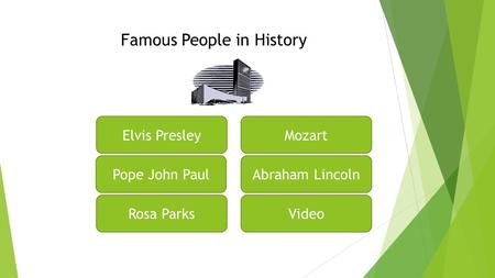 Famous People in History Elvis Presley Pope John Paul Rosa Parks Mozart Abraham Lincoln Video.