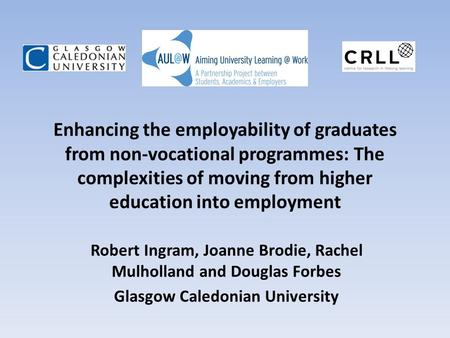 Enhancing the employability of graduates from non-vocational programmes: The complexities of moving from higher education into employment Robert Ingram,