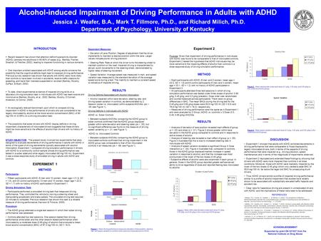 Alcohol-induced Impairment of Driving Performance in Adults with ADHD Jessica J. Weafer, B.A., Mark T. Fillmore, Ph.D., and Richard Milich, Ph.D. Department.