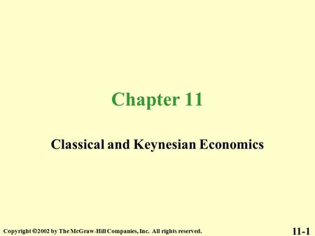<strong>Classical</strong> and Keynesian <strong>Economics</strong>
