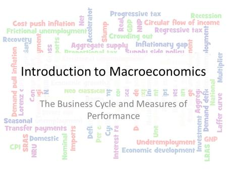 Introduction to Macroeconomics The Business Cycle and Measures of Performance.