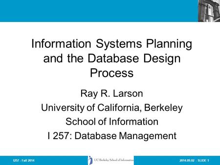 Information Systems Planning and the Database Design Process