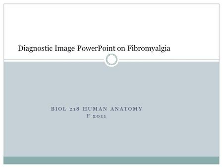 BIOL 218 HUMAN ANATOMY F 2011 Diagnostic Image PowerPoint on Fibromyalgia.