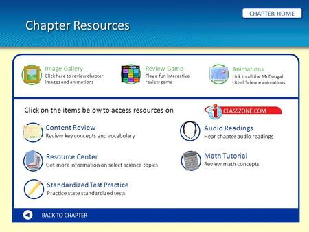 Chapter Resources CHAPTER HOME BACK TO CHAPTER Content Review Review key concepts and vocabulary Math Tutorial Review math concepts Resource Center Get.