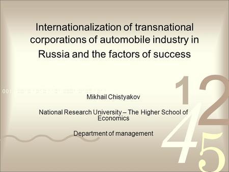 Research internationalization of russian telecommunication companies
