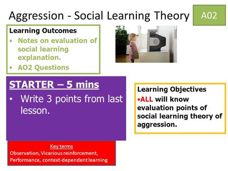 Aggression - Social Learning Theory STARTER – 5 mins Write 3 points from last lesson. Learning Objectives ALL will know evaluation points of social learning.