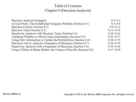 Table of Contents Chapter 9 (Decision Analysis)