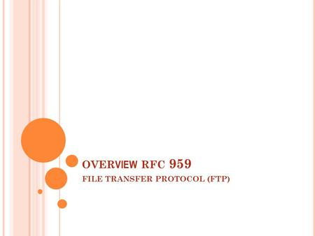 OVER VIEW RFC 959 FILE TRANSFER PROTOCOL (FTP). C ONTENTS  The Ftp Model  Data transfer functions  File transfer functions  Declarative specifications.