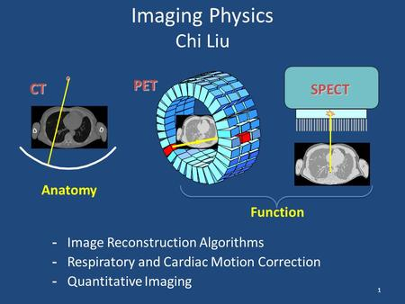 1 Imaging Physics Chi Liu CT PET SPECT -Image Reconstruction Algorithms -Respiratory and Cardiac Motion Correction -Quantitative Imaging Anatomy Function.