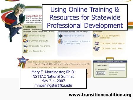 Using Online Training & Resources for Statewide Professional Development Mary E. Morningstar, Ph.D. NSTTAC National Summit May 2-4, 2007
