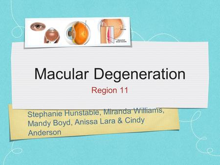 Stephanie Hunstable, Miranda Williams, Mandy Boyd, Anissa Lara & Cindy Anderson Macular Degeneration Region 11.