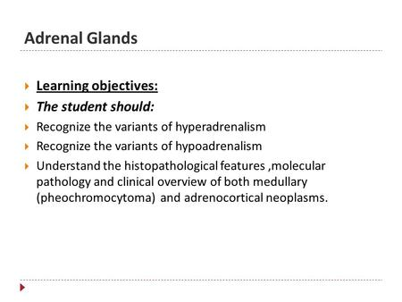 Adrenal Glands  Learning objectives:  The student should:  Recognize the variants of hyperadrenalism  Recognize the variants of hypoadrenalism  Understand.