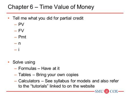 Chapter 6 – Time Value of Money