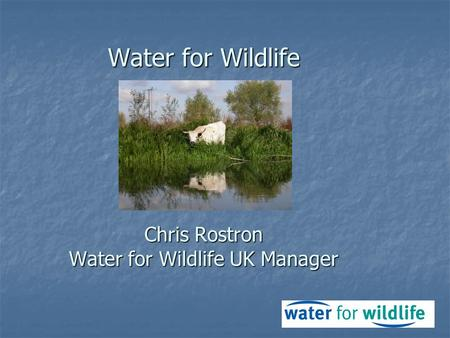 Water for Wildlife Chris Rostron Water for Wildlife UK Manager.