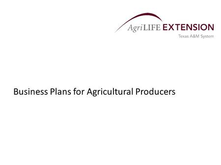 Business Plans for Agricultural Producers. General Information  A business plan is a road map for a business.  It describes the key functions of the.