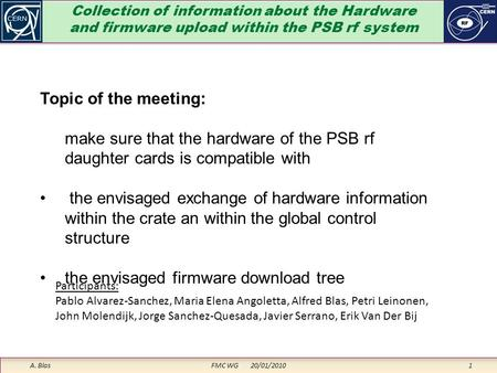 Collection of information about the Hardware and firmware upload within the PSB rf system A. Blas FMC WG 20/01/2010 1 Topic of the meeting: make sure that.