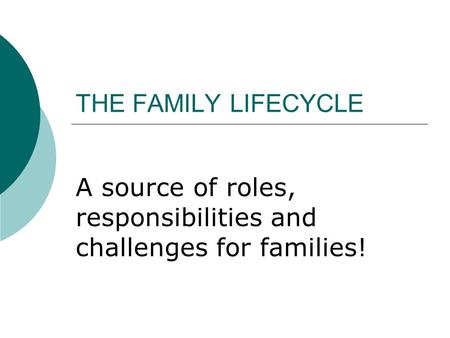 THE FAMILY LIFECYCLE A source of roles, responsibilities and challenges for families!