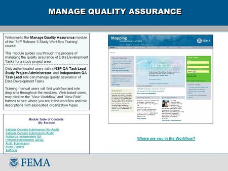 "Welcome to the Manage Quality Assurance module of the ""MIP Release 3 Study Workflow Training"" course! This module guides you through the process of managing."