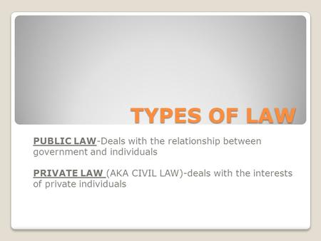 TYPES OF LAW PUBLIC LAW-Deals with the relationship between government and individuals PRIVATE LAW (AKA CIVIL LAW)-deals with the interests of private.