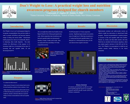 Don't Weight to Lose: A practical weight loss and nutrition awareness program designed for church members Courseault, J. 1, Jupiter, R. 1, Rabito, F.,