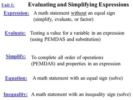 Unit 1: Evaluating and Simplifying Expressions Expression:A math statement without an equal sign (simplify, evaluate, or factor) Evaluate:Testing a value.