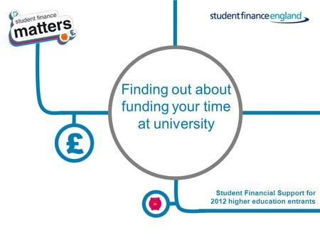 £ 12_13 Student Financial Support for 2012 higher education entrants Finding out about funding your time at university.