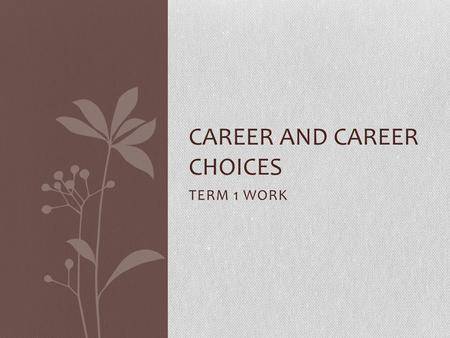 TERM 1 WORK CAREER AND CAREER CHOICES. WHAT DOES THE DEPARTMENT EXPECT: Requirements for admission to additional and higher education courses: National.