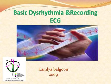Kamlya balgoon 2009 ECG - Analysis Use a consistent method to analyze an ECG Rate Rhythm Assess P wave Assess P wave to QRS ratio 1=1 Interval duration.