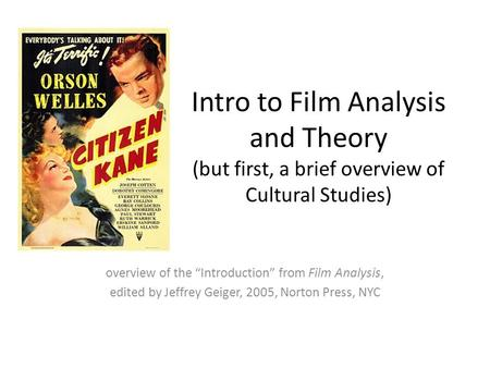 "overview of the ""Introduction"" from Film Analysis,"