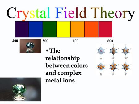 Crystal Field Theory 400 500 600 800 The relationship between colors and complex metal ions.
