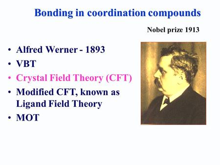 Bonding in coordination compounds