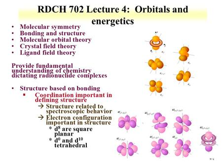 4-1 RDCH 702 Lecture 4: Orbitals and energetics Molecular symmetry Bonding and structure Molecular orbital theory Crystal field theory Ligand field theory.