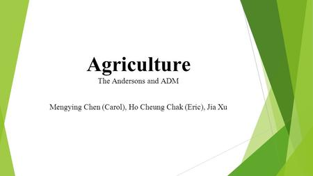 Agriculture The Andersons and ADM Mengying Chen (Carol), Ho Cheung Chak (Eric), Jia Xu.