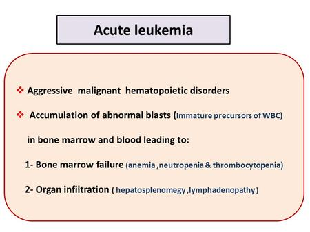 Acute leukemia Aggressive malignant hematopoietic disorders