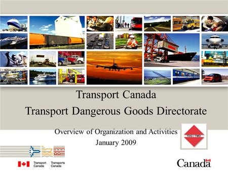Transport Canada Transport Dangerous Goods Directorate Overview of Organization and Activities January 2009.