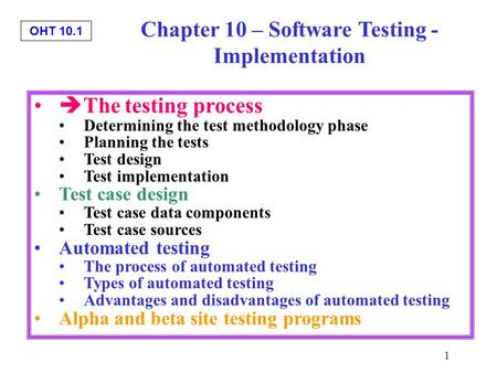Chapter 10 – Software Testing - Implementation