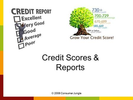 © 2006 Consumer Jungle Credit Scores & Reports. Learning Target I can explain what can affect my credit score and how to improve it. © 2006 Consumer Jungle.