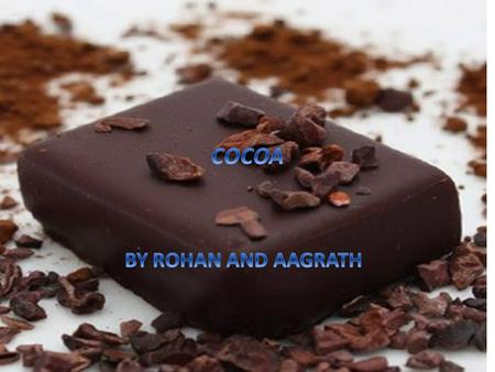 History of cocoa Cocoa or Xocolatie which was used by Aztecs. Cocoa is the dried fully fermented Seed of theobrama from which cocoa solids and cocoa butter.