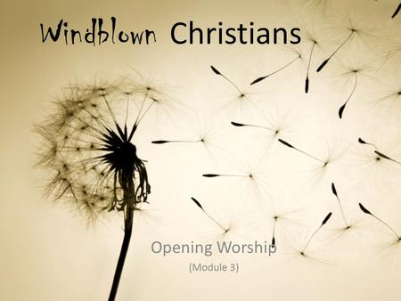 Windblown Christians Opening Worship (Module 3). Call to Worship: Let the Redeemed of the Lord Praise (Based on Psalm 107:1-3, 17-22) Leader: Let the.
