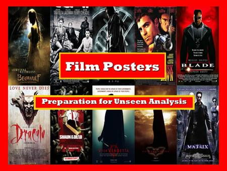 Film Posters Preparation for Unseen Analysis. Learning Intentions: To revise our understanding of print language and conventions.To revise our understanding.