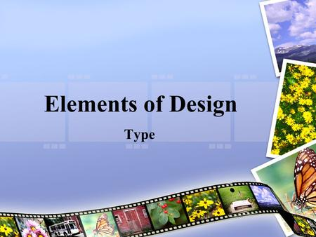 Elements of Design Type. Objectives After this lesson, you will understand: –The 5 primary categories of type –Elements of typography –Special characters.