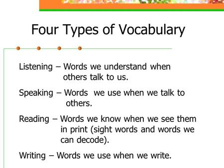 Four Types of Vocabulary Listening – Words we understand when others talk to us. Speaking – Words we use when we talk to others. Reading – Words we know.