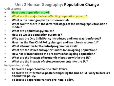 Unit 2 Human Geography: Population Change
