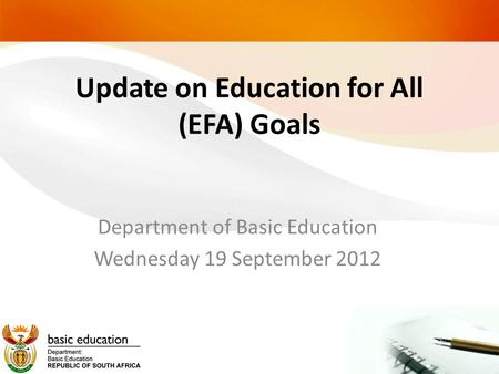 Update on Education for All (EFA) Goals