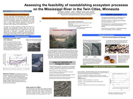 Assessing the feasibility of reestablishing ecosystem processes on the Mississippi River in the Twin Cities, Minnesota Christian Lenhart 1, John L. Nieber.