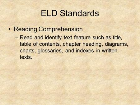 ELD Standards Reading Comprehension