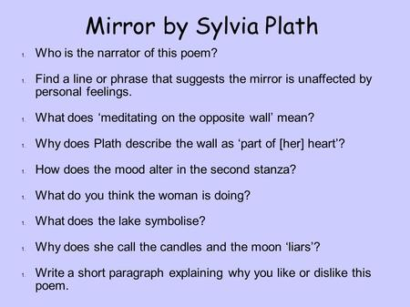 Mirror by Sylvia Plath Who is the narrator of this poem?